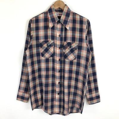 古着 Levi's リーバイス チェックシャツ made in USA ヴィンテージ 長袖 ネイビー系 メンズS n020420