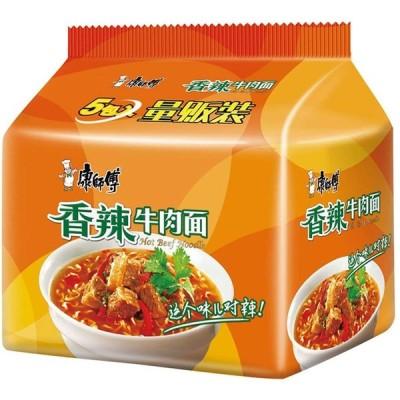 泡面 香辣牛肉面 方便面 インスタント麺 康傅 典系列 香辣牛肉面 五包 99g*5袋