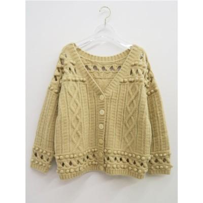 popcorn knit cardigan (beige)