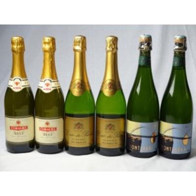 世界のスパークリング白ワイン3本2セット (イタリアやや辛口 フランスやや甘口 スペインやや甘口) 750ml×6本