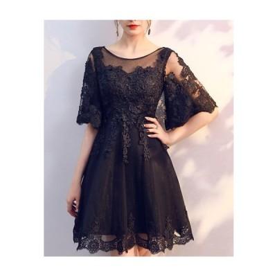 ドレス パーティー パーティードレス 結婚式 ワンピース ドレス 大きいサイズ パーティードレス 黒 ひざ丈 レース jm3197