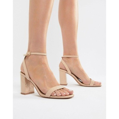 エイソス レディース ヒール シューズ ASOS DESIGN Hong Kong Barely There Block Heeled Sandals in warm beige Warm beige patent
