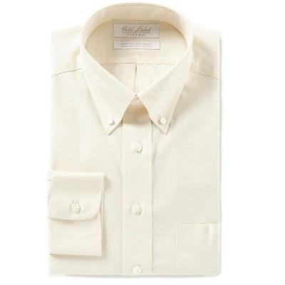 ランドツリーアンドヨーク メンズ シャツ トップス Gold Label Roundtree & Yorke Non-Iron Fitted Button-Down Collar Solid Dress Shirt Ivory