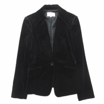 【中古】美品 エムプルミエ M-Premier ベロア テーラード ジャケット ブレザー 総裏 1B 1150-025 サイズ38 黒 ▼2