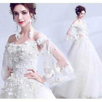 結婚式ワンピース ウェディングドレス 花嫁 ドレス 高級刺繍 袖あり 体型カバー aライン 姫系ドレス 白ドレス