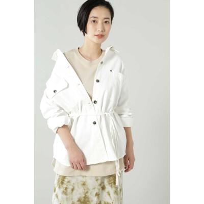 ウエストベルト付シャツジャケット ホワイト