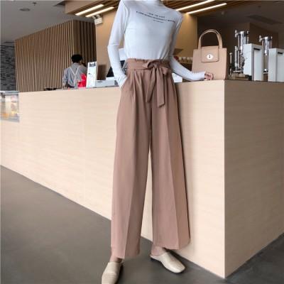 ◐2018年の新作* 韓国ファッションコレクション◑体型カバー効果あり レーヨン   パンツ パンタロン 9分丈