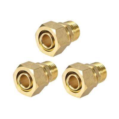 uxcell 真鍮圧縮管継手コネクタア 圧縮管ダプター チューブID OD Xオス ゴールドトーン 20mmチューブ外径 x 1/2 Gオス3個