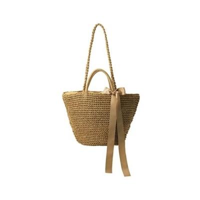 [ネユーズ] レディース 夏 涼しげ 編み かご バッグ ショルダー 肩掛け 手さげ 2 way 大容量