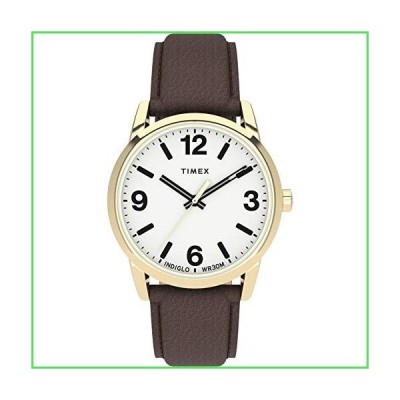 Timex Men's Easy Reader Bold 38mm Watch ? Gold-Tone Case White Dial with Brown Leather Strap