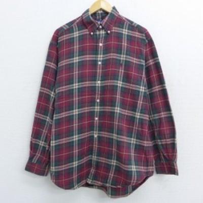 古着 長袖 ブランド フランネル シャツ 90年代 90s ラルフローレン Ralph Lauren ワンポイントロゴ 大きいサイズ コットン ボタンダウン