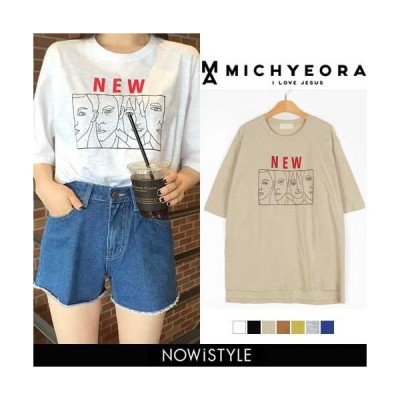 韓国 ファッション Tシャツ レディース おしゃれ 夏 半袖 ゆったり プリント
