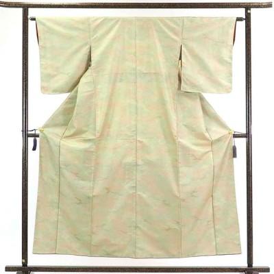 リサイクル着物 紬 正絹薄ベージュぼかし袷紬着物未使用品