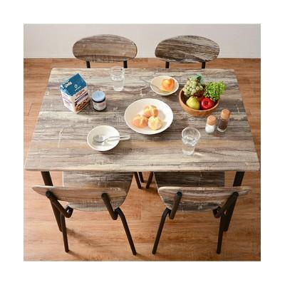 【お買い得】エイジング塗装風のグレイッシュなダイニングセット ダイニングテーブルセット, Tables(ニッセン、nissen)