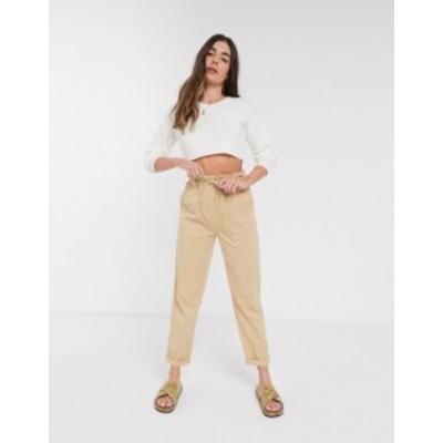 トップショップ レディース カジュアルパンツ ボトムス Topshop tapered pants in tan Multi