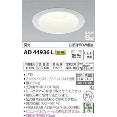 コイズミ照明 ダウンライト 屋内屋外兼用パネルダウンライト 白熱灯60W相当 調光タイプ 温白色 AD44936L