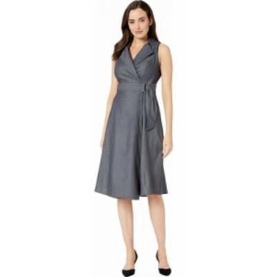 ロンドンタイムス London Times レディース ワンピース ワンピース・ドレス Galanti Fit and Flare Notch Collar Dress Denim
