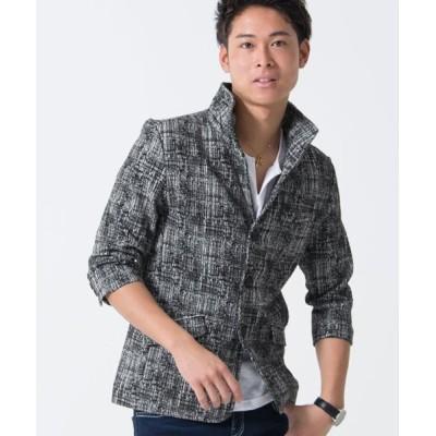【シルバーバレット】 CavariAモザイクチェックイタリアンカラー七分袖ジャケット メンズ ブラック 46(L) SILVER BULLET