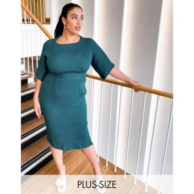 クローゼットロンドン Closet London Plus レディース ワンピース ペンシル ワンピース・ドレス Ribbed Pencil Dress In Emerald Green エメラルドグリーン