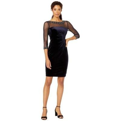 タハリ レディース ワンピース トップス Stretch Velvet Cocktail Dress with Illusion Mesh and Beaded Sleeves and Neckline