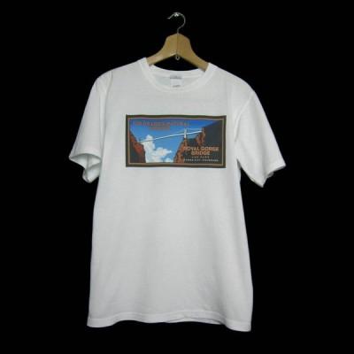 プリントTシャツ ROYAL GORGE BRIDGE AND PARK  白色  古着 USA