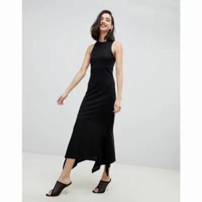リバーアイランド ワンピース studio fine knitted dress with hanky hem in black Black