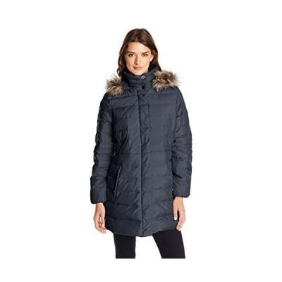 Fleet Street Ltd. Women's Classic Down Coat with Faux Fur Hood, Navy, Large
