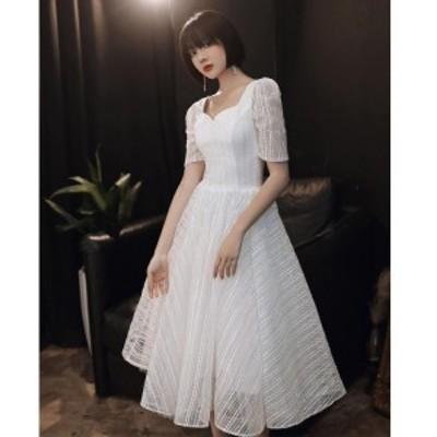 ミモレ丈ドレス 袖あり ホワイト 二次会 パーディードレス ゴージャス aラインワンピ 大きいサイズ フォマール ウエディングドレス 結婚