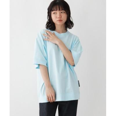 【ベースステーション】 抗菌防臭 ビッグシルエット リブ仕様 ロゴワンポイント刺繍Tシャツ レディース サックス 99(FREE) BASE STATION