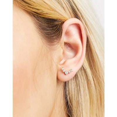 キングスリーライアン レディース ピアス&イヤリング アクセサリー Kingsley Ryan 6mm single piercing crystal climber earring in gold plate Gold