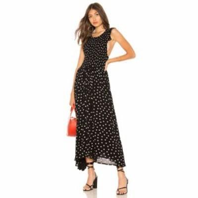 フリーピープル ワンピース Chambray Butterflies Dot Midi Dress Black
