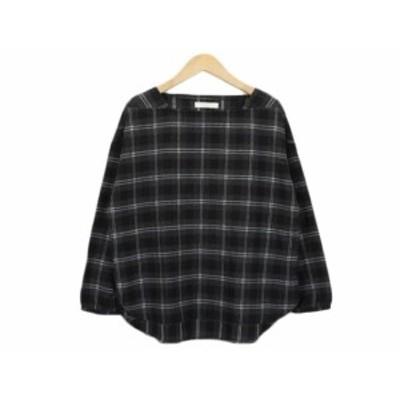 【中古】ショコラフィネローブ chocol raffine robe カットソー プルオーバー チェック スクエアネック F レディース