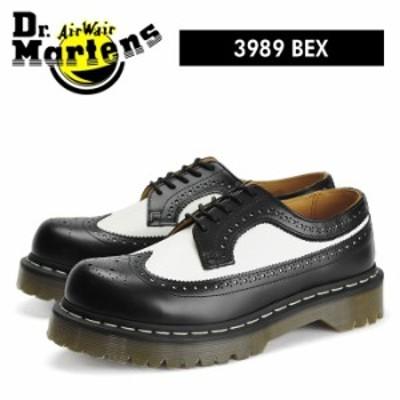 ドクターマーチン 5アイ ウィングチップ ブーツ ベックスソール ブラック/ホワイト バイカラー Dr.Martens 3989Z 5 EYE BEX SOLE