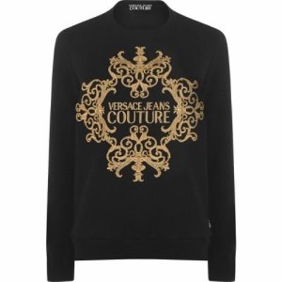 ヴェルサーチ VERSACE JEANS COUTURE レディース スウェット・トレーナー トップス baroque logo sweatshirt Black/Gold