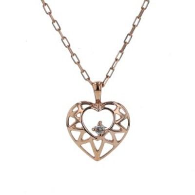 K10PG ピンクゴールド ネックレス ダイヤモンド 0.01ct 1粒 ハート 透かし デザイン 40cm【新品仕上済】【af】【中古】