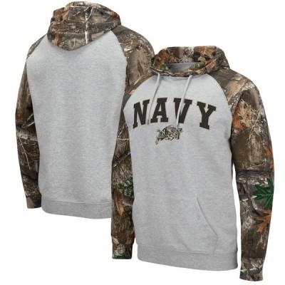 """メンズ パーカー """"Navy Midshipmen"""" Colosseum Arch - Logo 2.0 Raglan Pullover Hoodie - Heathered Gray/Realtree Camo"""