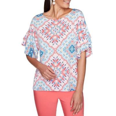 ルビーロード レディース Tシャツ トップス Kaleidoscope Print Ballet Neck Short Double Layer Sleeve Top Geranium Multi