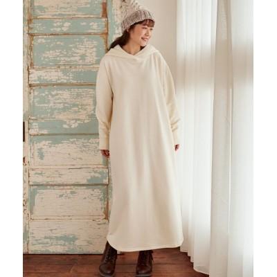 大きいサイズ 裏起毛パーカーロングワンピース ,スマイルランド, ワンピース, plus size dress