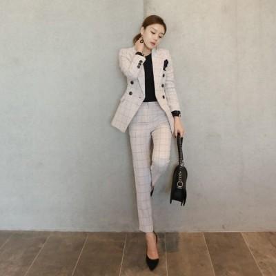 レディースファッション ジャケット セットアップ パンツスーツ ブレザースーツ