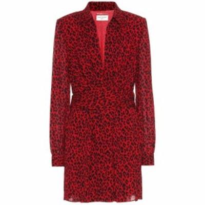 イヴ サンローラン Saint Laurent レディース ワンピース ワンピース・ドレス Leopard-print crepe minidress Rouge Fonce Noir
