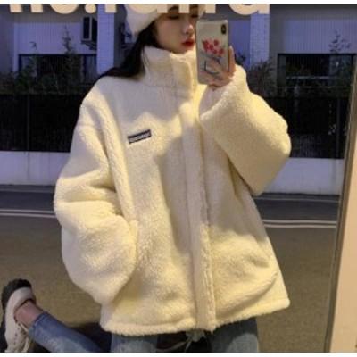 ボアジャケット アウター ハイネック ビッグシルエット ゆったり もこもこ 長袖 カジュアル 防寒 暖かい 韓国 オルチャン ファッション