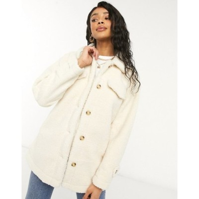 スリードベア レディース コート アウター Threadbare kaila teddy fleece shirt style coat in lilac