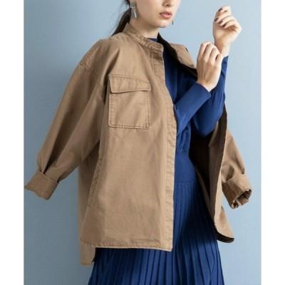 ジャケット ノーカラージャケット CPOシャツジャケット(オーバーサイズシャツ)