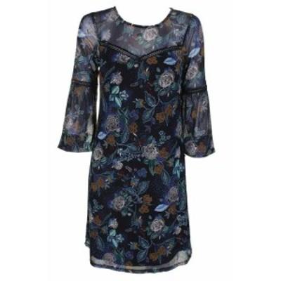 ファッション ドレス Thalia Sodi Black Crochet Insert Flower-Print Sheath Dress XS network