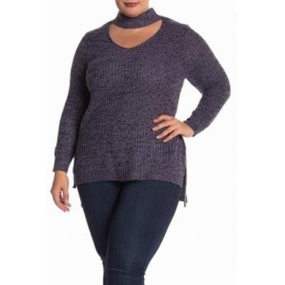 Gold ゴールド ファッション トップス Planet Gold Womens Blue Size 1X Plus Marled Knit Choker V-Neck Sweater