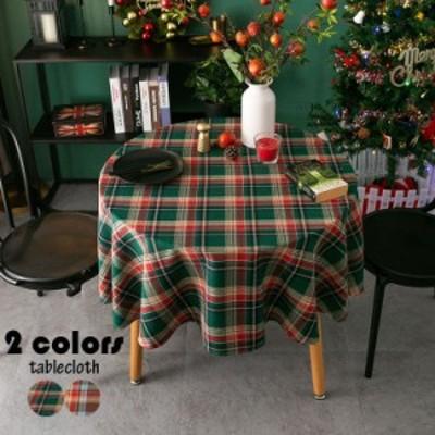 テーブルクロス 円形 北欧風 テーブルカバー 丸形 チェック柄 耐熱 汚れ防止 インテリア 家庭用 パーティー お手入れ簡単 おしゃれ クリ