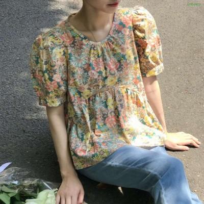 花柄 ブラウス レディース 半袖 シャツ 綿100% 丸首 バブル袖 おしゃれ カジュアル トップス カットソー