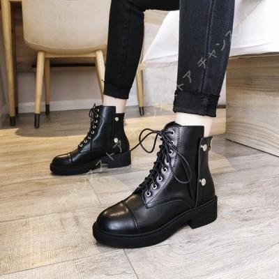 ショートブーツ レディース 編み上げブーツ レースアップブーツ サイドジップ マーティンブーツ 大きいサイズ 春 ブーツ 靴下 歩きやすい 長靴 ローヒール