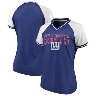 レディース スポーツリーグ フットボール New York Giants NFL Pro Line by Fanatics Branded Women's True Classics Retro Stripe V-Neck T