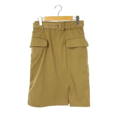 【中古】ダブルスタンダードクロージング ダブスタ DOUBLE STANDARD CLOTHING 18AW タイトスカート 膝丈 ベルト付 36 ベージュ レディース 【ベクトル 古着】
